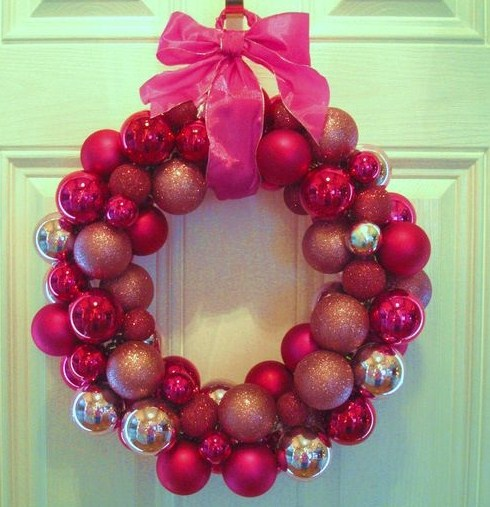 In His Grip  Pink Christmas Ball Wreath   Repost 3mXfphMT
